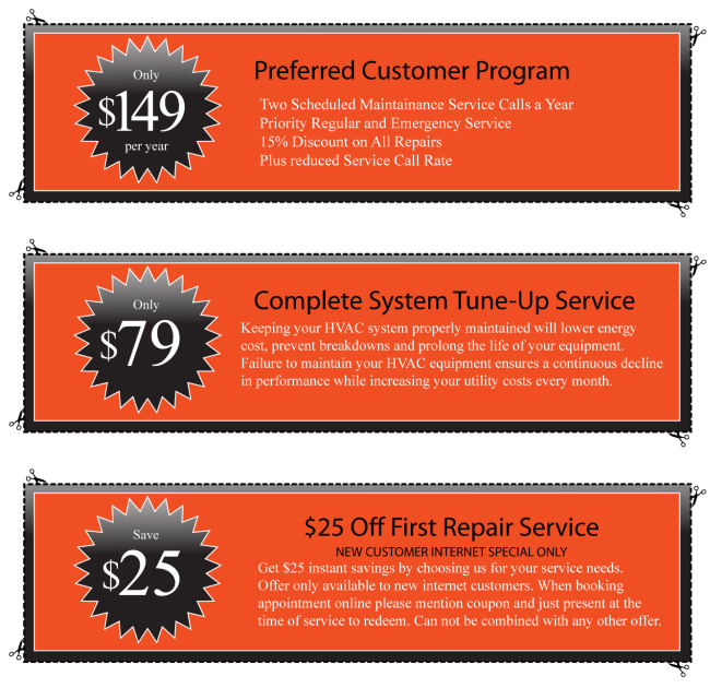 Heating AC Air Conditioning repair service coupon savings